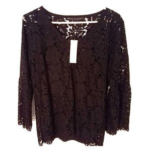 WHBM black lace 3/4 sleeve v neck top